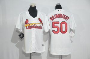 Womens 2017 MLB St. Louis Cardinals 50 Wainwright White Jerseys