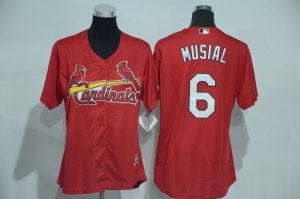 Womens 2017 MLB St. Louis Cardinals 6 Musial Red Jerseys