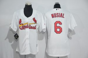 Womens 2017 MLB St. Louis Cardinals 6 Musial White Jerseys