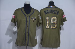 Womens 2017 MLB Toronto Blue Jays 19 Bautista Green Salute to Service Stitched Baseball Jersey