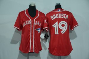 Womens 2017 MLB Toronto Blue Jays 19 Bautista Red Jerseys