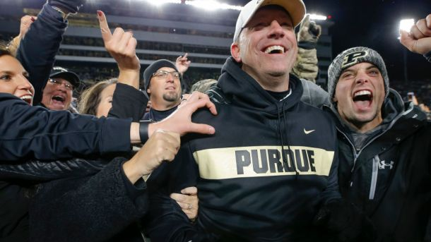 WEST LAFAYETTE, IN - OCTOBER 20: Head coach Jeff Brohm of the Purdue Boilermakers is mobbed by fans after the upset win over the Ohio State Buckeyes at Ross-Ade Stadium on October 20, 2018 in West Lafayette, Indiana. (Photo by Michael Hickey/Getty Images)